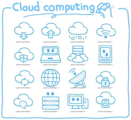Pure serie Hand getrokken cloud computing icon set Vector Illustratie