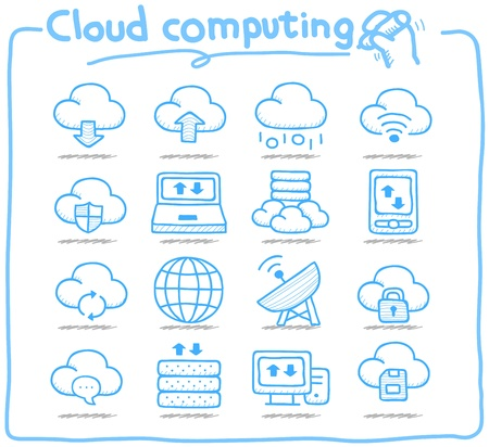 file sharing: Pure Series   Hand drawn cloud computing  icon set Illustration