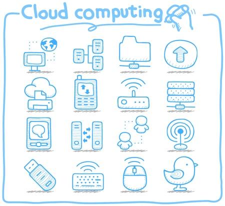 puro: Mano Serie Pure dibujado cloud computing conjunto de iconos Vectores
