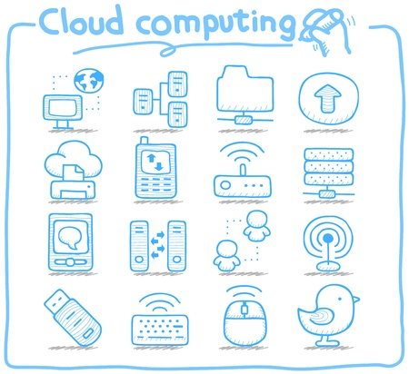 file share: Pure Series   Hand drawn cloud computing  icon set Illustration