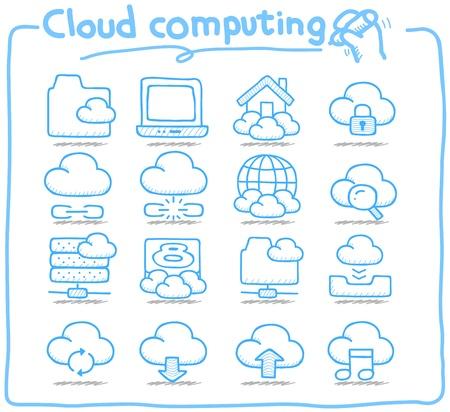 puros: Mano Serie Pure dibujado cloud computing conjunto de iconos Vectores