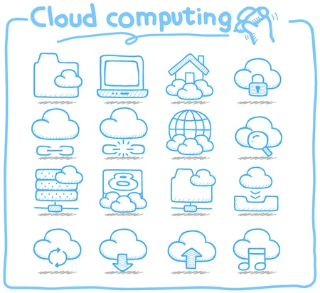 Pure Series   Hand drawn cloud computing  icon set Illustration