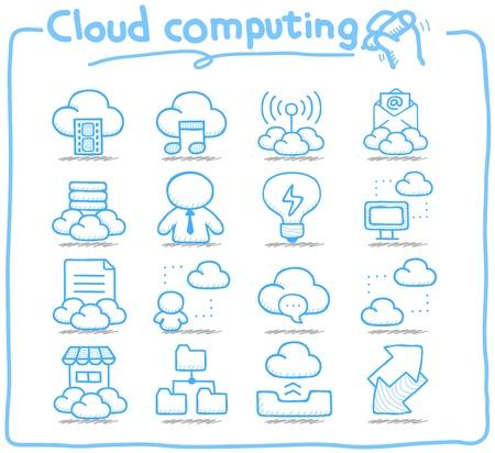 Mano Serie Pure dibujado cloud computing conjunto de iconos Ilustración de vector