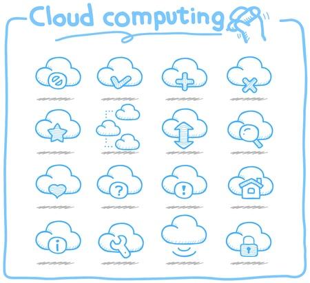 Pure serie Hand getrokken cloud computing icon set
