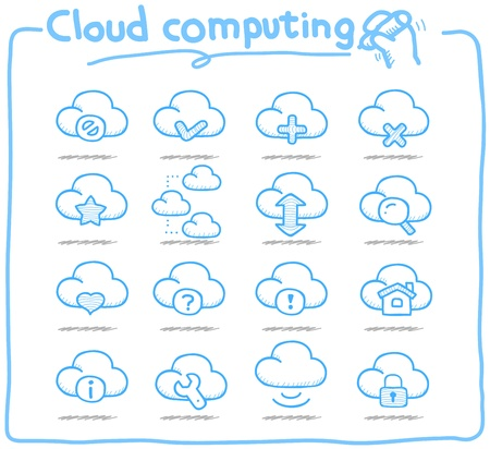 Pure Series   Hand drawn cloud computing  icon set Stock Vector - 14884143