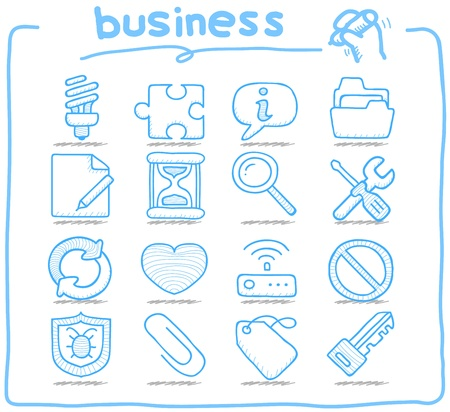 퓨어 시리즈 손으로 그린 인터넷, 비즈니스 아이콘을 설정합니다