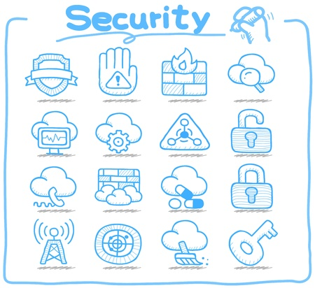 Pure Series   Hand drawn security icon set Vector