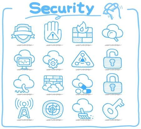 serie: Reine Series Hand gezeichnet Sicherheit icon set