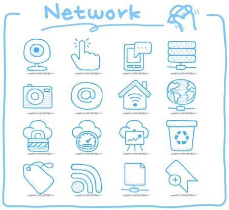 smartphone mano: Serie disegnata a mano Pure internet, set business icona Vettoriali