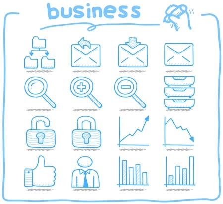 純粋なシリーズ手描きインター ネット ビジネスのアイコンを設定