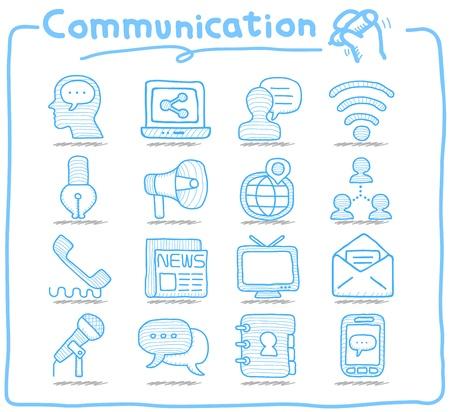 Pure serie Hand getrokken Communicatie, Netwerk icon set Vector Illustratie