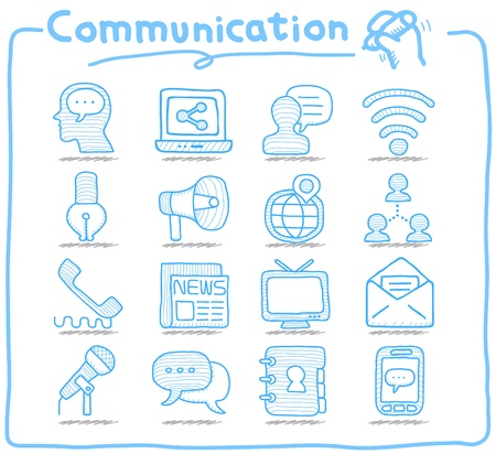 communication tools: Pure Series   Hand drawn Communication , Network icon set