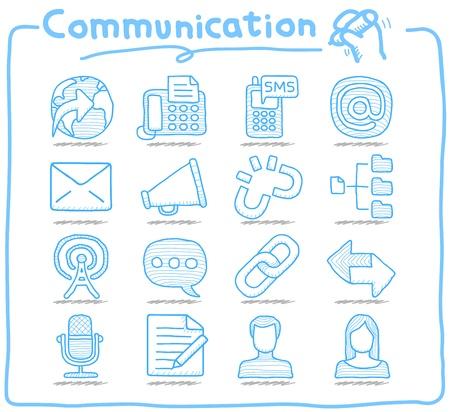 Mano Serie Pure dibujado Comunicación, Red de conjunto de iconos Foto de archivo - 15214202