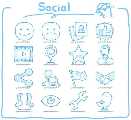 Pure serie Hand getrokken Social, Network icon set
