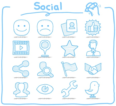 serie: Reine Series Hand gezeichnet Social setzen Symbol Netzwerk Illustration