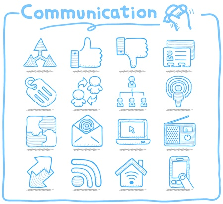 Pure Series   Hand drawn Communication , Network icon set Vector