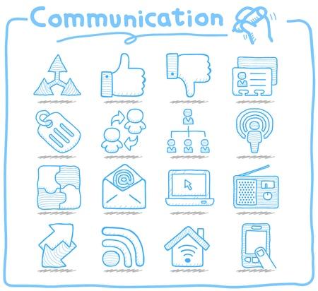 Serie disegnata a mano pura di comunicazione, rete icon set