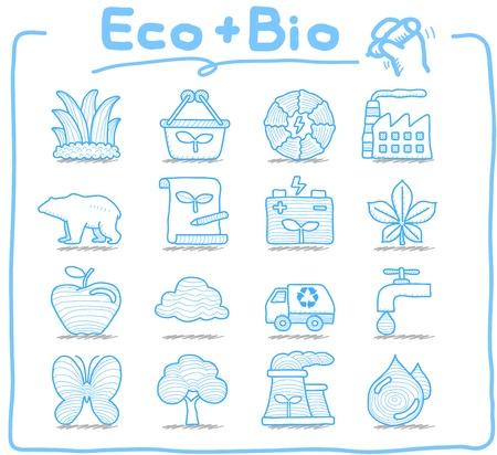 serie: Reine Series - Hand gezeichnet ECO setzen BIO-Symbol Illustration