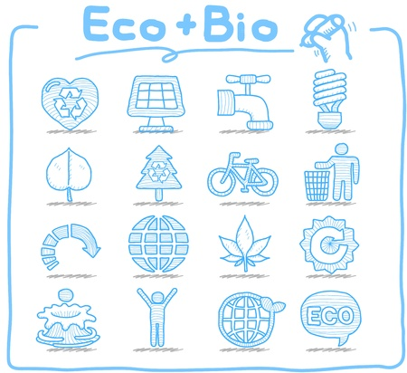 Pure Series - Hand drawn ECO , BIO icon set Stock Vector - 15014684