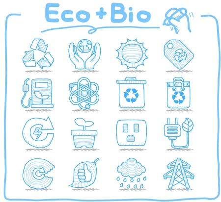 ahorrar agua: Pure Series - Dibujado a mano ECO, BIO conjunto de iconos