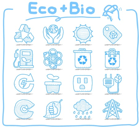 Pure Series - Hand drawn ECO , BIO icon set Illustration