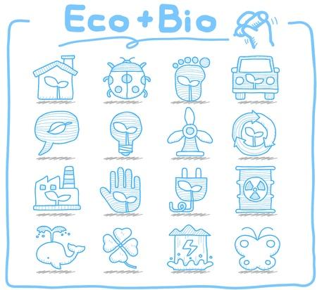 Pure serie - Hand getrokken ECO, BIO icon set