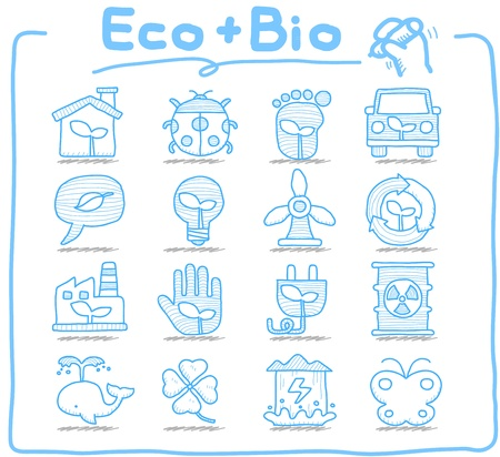 Pure Series - Hand drawn ECO , BIO icon set Vector