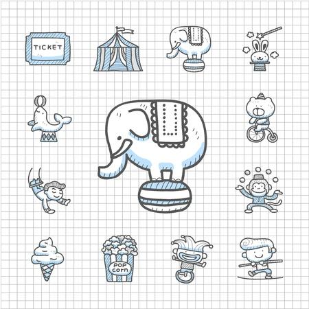 promo: Spotless Series - disegnata a mano Circo icon set Vettoriali
