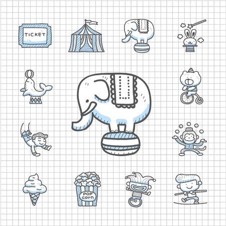 Spotless Series - Hand drawn Circus icon set Vector