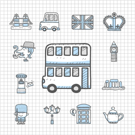 iconic architecture: Spotless series - Hand drawn Britain,The United Kingdom icon set