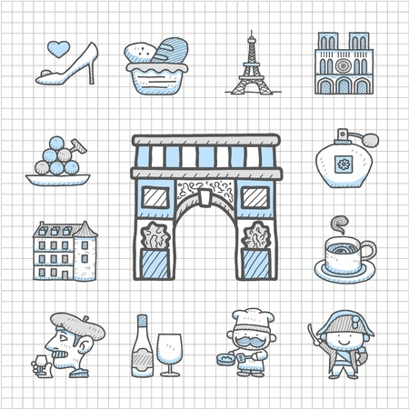 Spotless series - Hand drawn French,Europe,travel,landmark icon set Vector