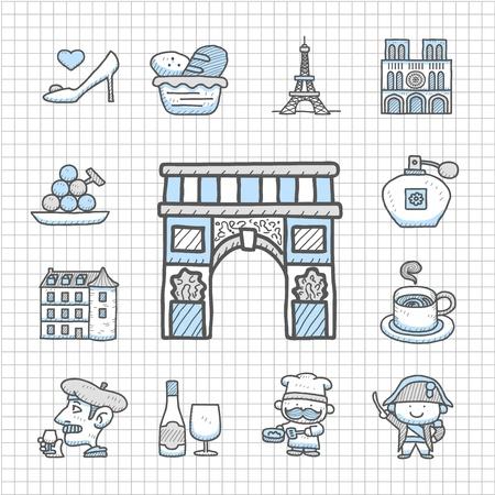 spotless: Spotless series - Hand drawn French,Europe,travel,landmark icon set Illustration