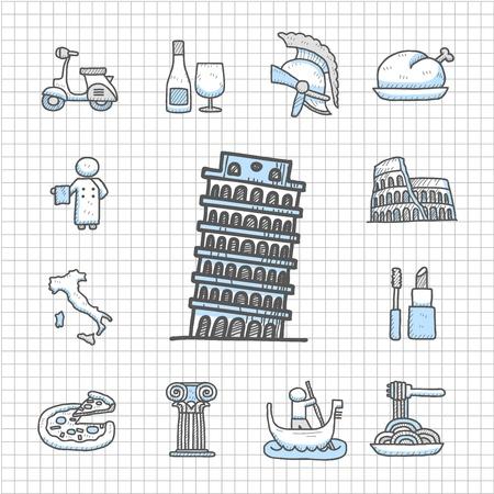 Spotless serie - Hand getrokken Italië, italiaanse, Europa, reizen, landmark icon set Stock Illustratie