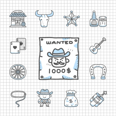 Spotless Series -  wild west cowboys icon set Stock Vector - 15089043