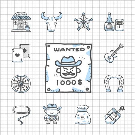 alcoholism: Spotless Series -  wild west cowboys icon set Illustration
