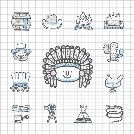 calavera caricatura: Impecable Series - salvaje oeste vaqueros conjunto de iconos Vectores