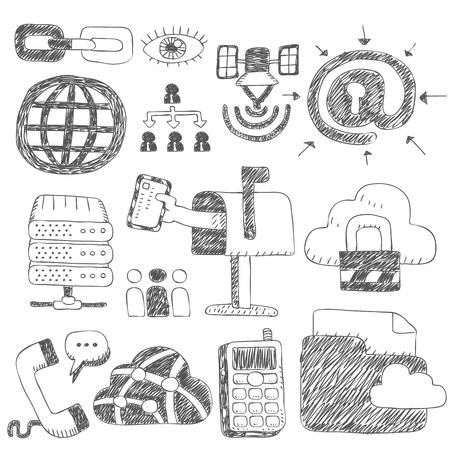 Black Series - Internet, zakelijke set Stock Illustratie