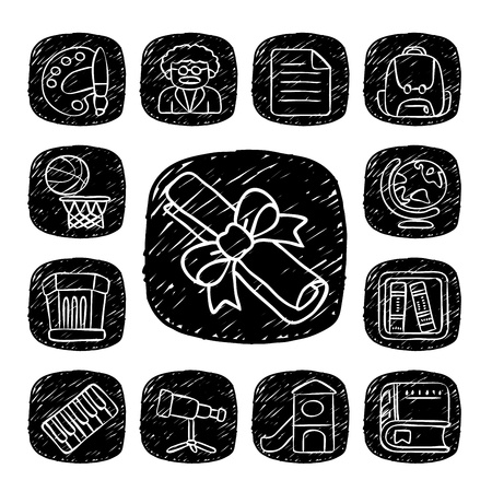 Black Round Series - doodle School,education  icon set Stock Vector - 15563707