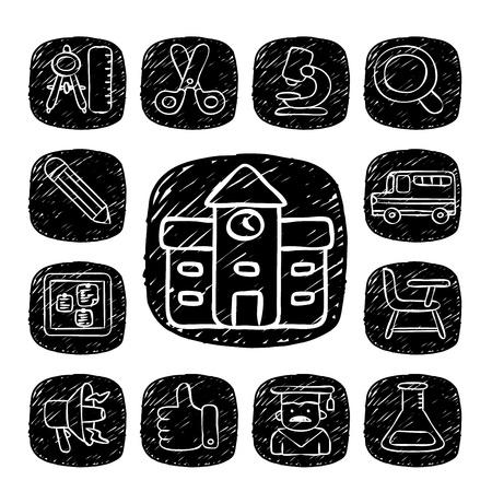satchel: Black Round Series - doodle School,education  icon set Illustration