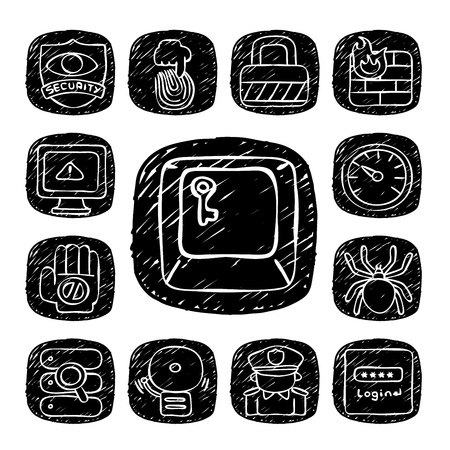 Black Round Series- doodle Security  icon set Vector