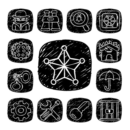 Black Round Series- doodle Security  icon set Stock Vector - 15563710