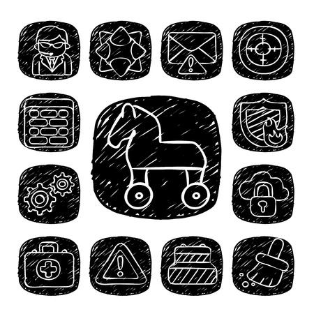 cavallo di troia: Nero rotonda Serie-doodle Sicurezza set di icone Vettoriali