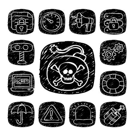 Black Round Series- doodle Security  icon set Stock Vector - 15563702