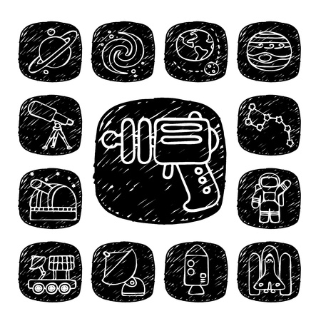 Black Round Series - doodle space,alien ,science  icon set Vector