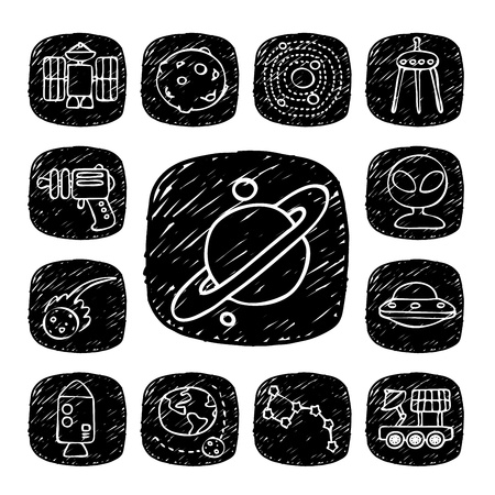 Black Round Series - doodle space,alien ,science  icon set Stock Vector - 15563706