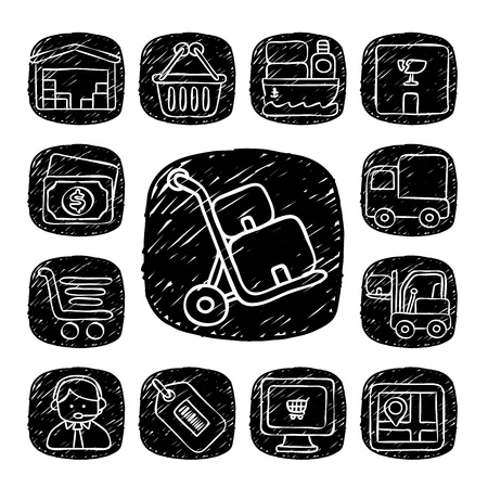 Black Round Series- doodle delivery,communication  icon set Vector