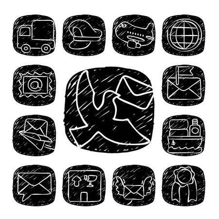 carrier pigeons: Black Round Series- doodle delivery,communication  icon set Illustration