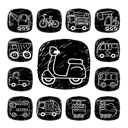 Black Round Series- doodle transportation ,traffic  icon set Stock Vector - 15563300