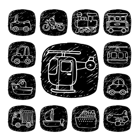 Black Round Series- doodle transportation ,traffic  icon set Vector