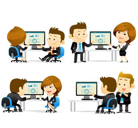 computadora caricatura: La gente elegante de la serie-Empresarios en el ordenador